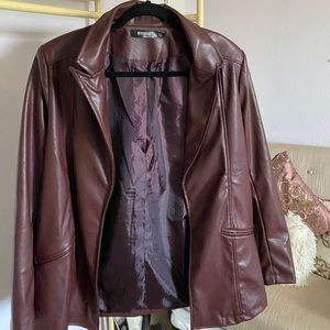 Misguided Chocolate Brown Faux Leather Blazer